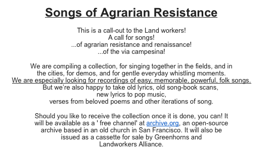 songs of ag resistance