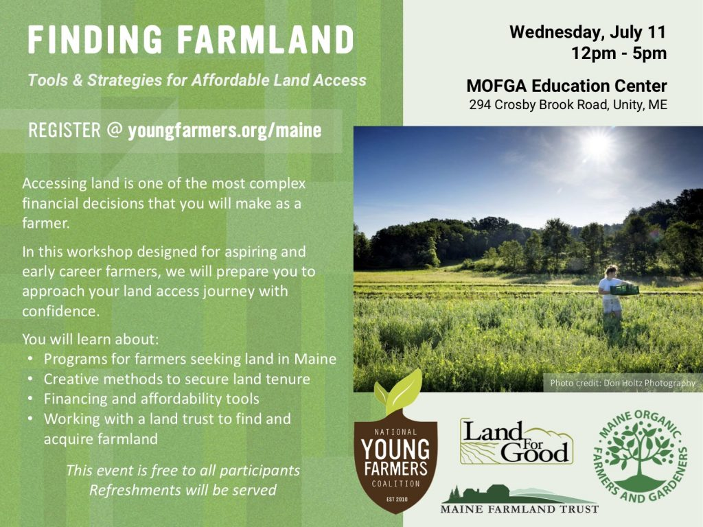 National Young Farmers Coalition - finding farmland flyer